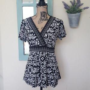 Apt 9 Faux Wrap Black & White Floral Top